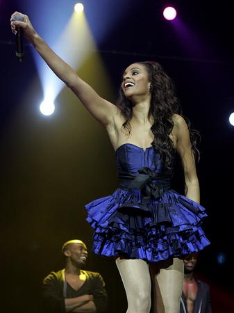 Alesha Dixon on stage at the Jingle Bell Ball