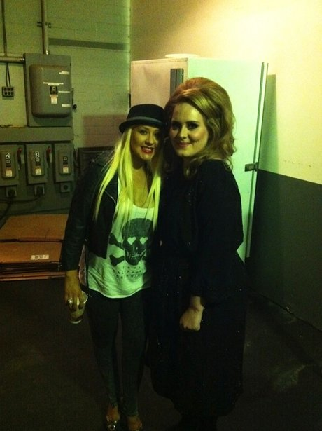 Christina Aguilera and Adele meet each other