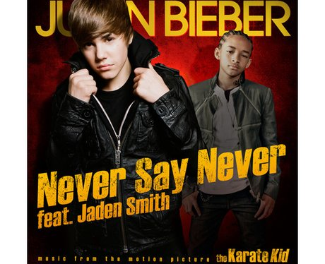 The single cover for Justin Bieber's 'Never Say Never' featuring Jaden Smith.