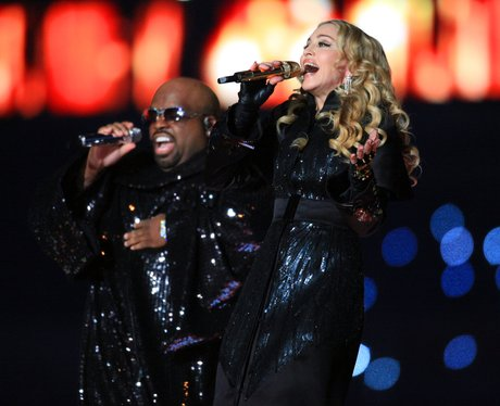 Madonna and Cee Lo Green performs at Super Bowl 20