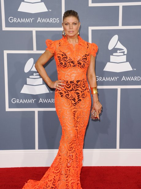 Fergie on the red carpet at Grammy Awards 2012 in see-through dress