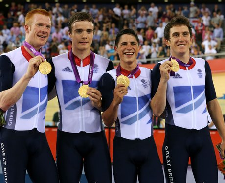 Team GB's Ed Clancy, Steven Burke, Peter Kennaugh, And Geraint Thomas Win Gold In The Men's Team Pursuit