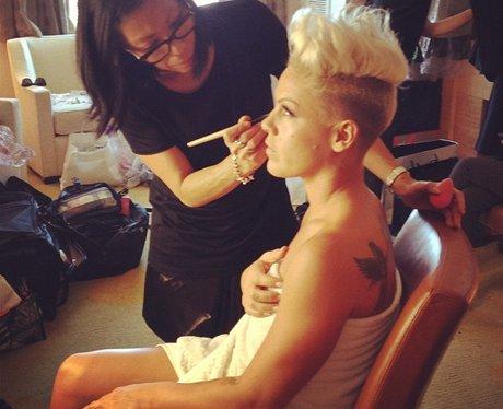 Pink has make-up done for MTV VMAs.