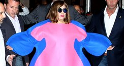 Lady Gaga in Blue and Pink 'Fat' Dress
