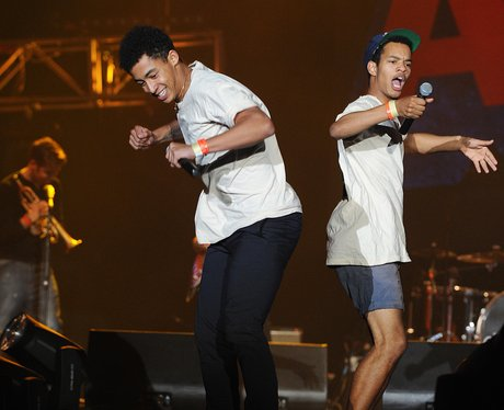 Harvey Alexander-Sule and Jordan Stephens from Rizzle Kicks on stage
