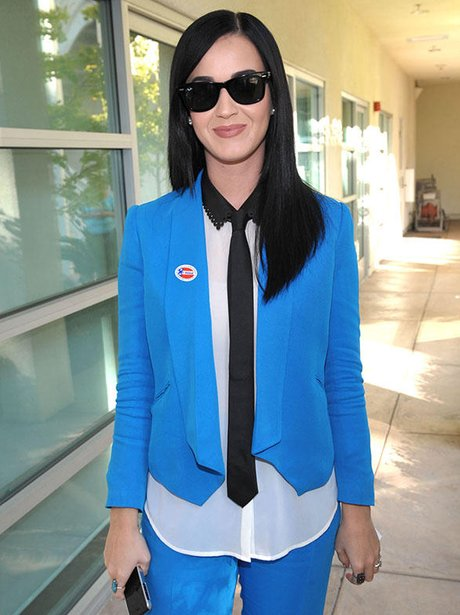 Katy Perry voting in the US election 2012.