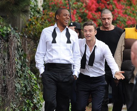Jay-Z and Justin Timberlake on the set