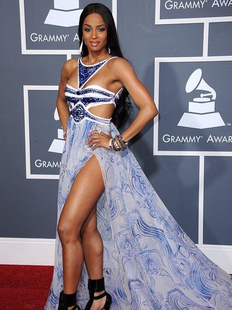 Ciara wearing blue maxi dress at Grammy Awards 2011