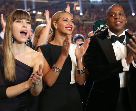 Jessica Biel, Beyonce and Jay-Z at the 2013 Grammys