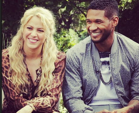Usher and Shakira hang out on set together