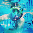 Example underwater on his honeymoon