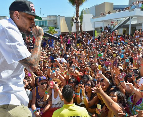 Chris Brown performs on stage