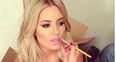 Mollie King having her make up done