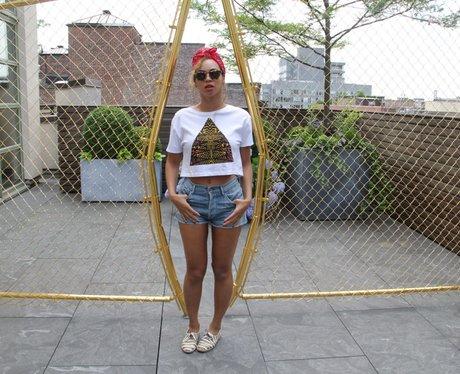 Beyonce wearing denim shorts