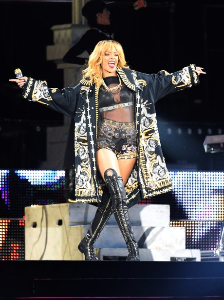 Rihanna performs live on stage