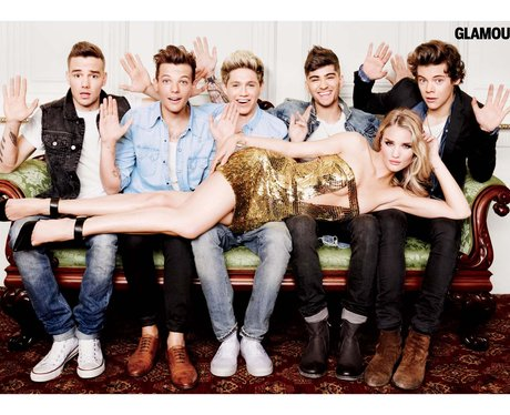 Rosie Huntington-Whiteley lying on top of One Direction in Glamour magazine