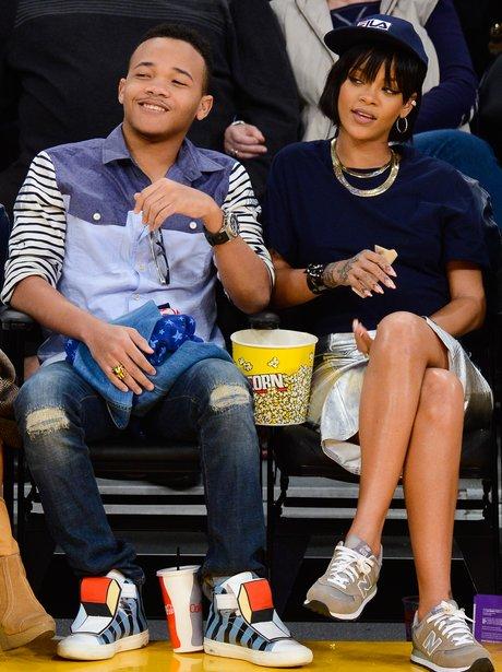 Rihanna and Brother At Basketball