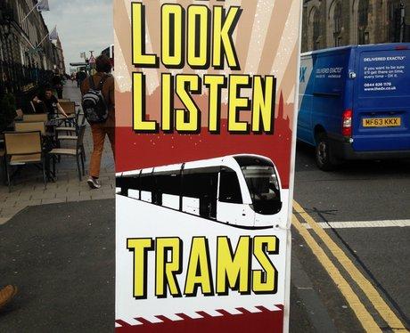 A tram safety sign in Edinburgh
