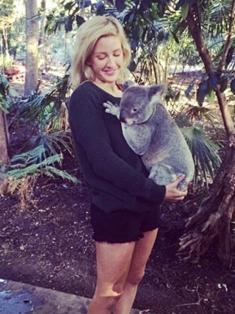 Ellie Goulding holding a koala