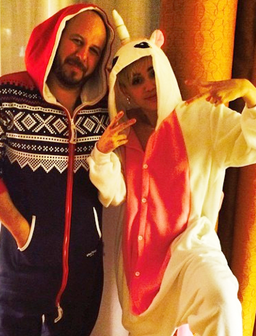Miley Cyrus wearing a onesie