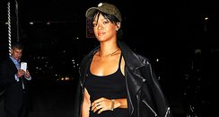 Rihanna wearign an all black outfit