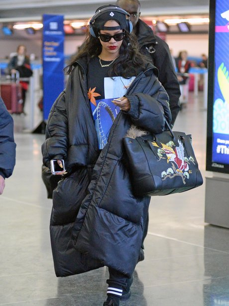 Rihanna in a puffa jacket