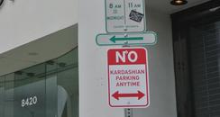 Kardashian No Parking Plastic Road Sign