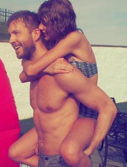 Taylor Swift and boyfriend Calvin Harris celebrate