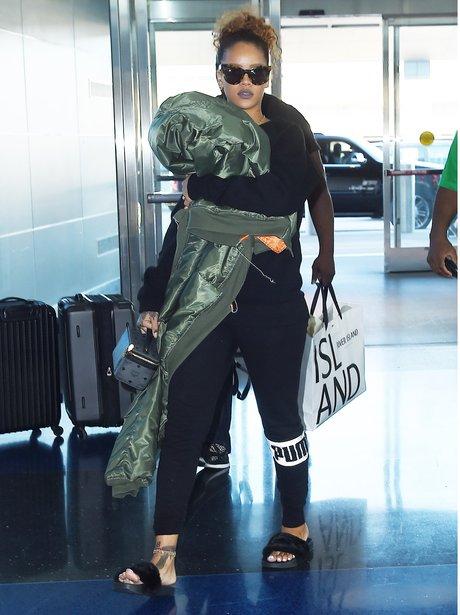 Rihanna Slippers Airport