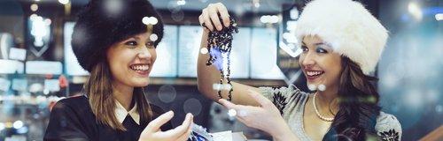 Women friends shopping jewellery