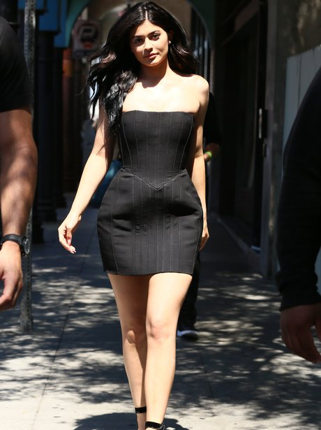 Kylie Jenner stuns in a black LBD Balmain dress